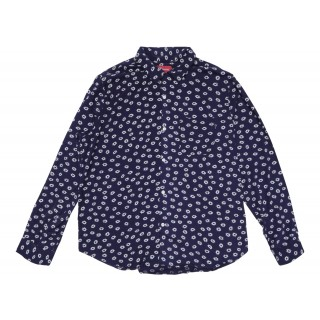 FW18 Supreme Flowers L/S Rayon Shirt Light Navy
