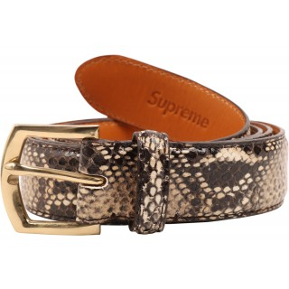 FW18 Supreme Faux Snakeskin Belt Tan
