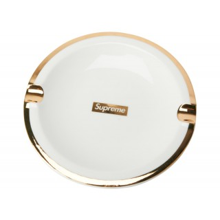 FW18 Supreme Gold Trim Ceramic Ashtray White