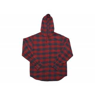 FW18 Supreme Hooded Buffalo Plaid Flannel Shirt Red