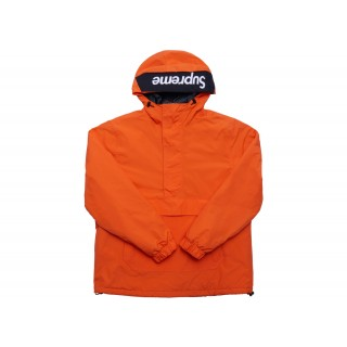 FW18 Supreme Hooded Logo Half Zip Pullover Orange