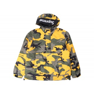 FW18 Supreme Hooded Logo Half Zip Pullover Yellow Camo
