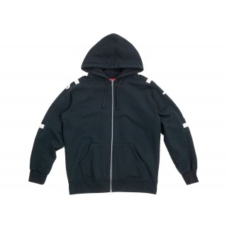 FW18 Supreme Hooded Track Zip Up Sweat Black