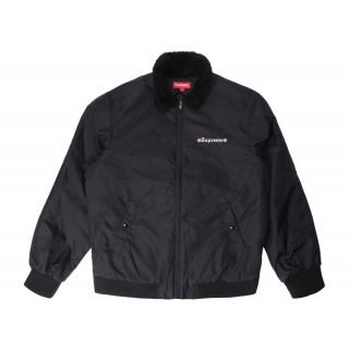 FW18 Supreme Independent Fur Collar Bomber Jacket Black