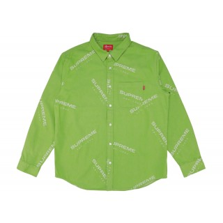 FW18 Supreme Jacquard Denim Shirt Lime