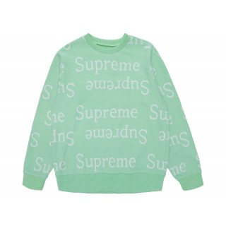 FW18 Supreme Jacquard Logo Crewneck Light Green