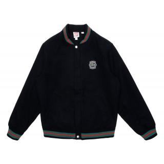 FW18 Supreme LACOSTE Wool Varsity Jacket Black