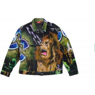 FW18 Supreme Lion's Den Denim Trucker Jacket Multi