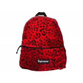 FW18 Supreme Leopard Fleece Backpack Red