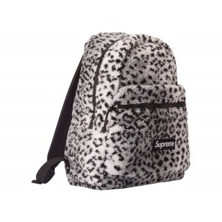 FW18 Supreme Leopard Fleece Backpack White