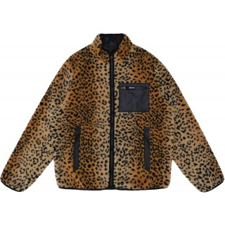 FW18 Supreme Leopard Fleece Reversible Jacket Black