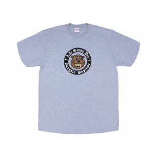 FW18 Supreme Life Sucks Die Tee Heather Grey