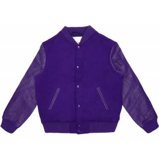 FW18 Supreme Motion Logo Varsity Jacket Purple