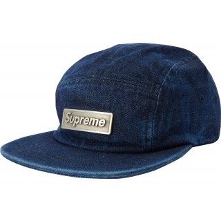 FW18 Supreme Metal Plate Camp Cap Blue