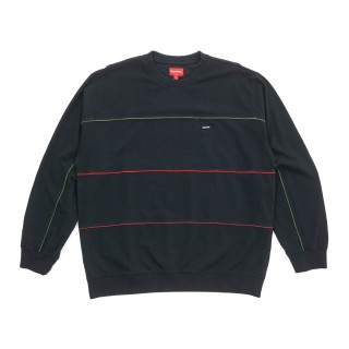 FW18 Supreme Multicolor Piping Pique Crewneck Black