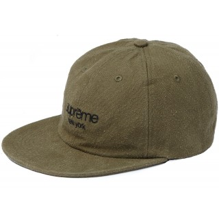 FW18 Supreme Napped Canvas Classic Logo 6-Panel Olive