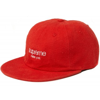 FW18 Supreme Napped Canvas Classic Logo 6-Panel Red