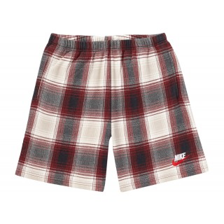 FW18 Supreme Nike Plaid Sweatshort Burgundy