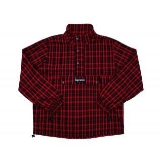 FW18 Supreme Nylon Plaid Pullover Red
