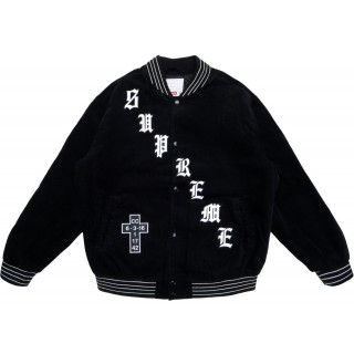 FW18 Supreme Old English Corduroy Varsity Jacket Black