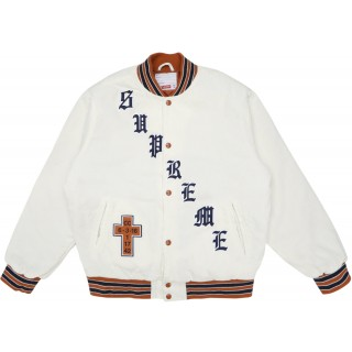 FW18 Supreme Old English Corduroy Varsity Jacket White
