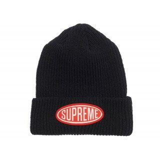 FW18 Supreme Oval Patch Beanie Black