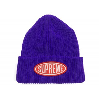 FW18 Supreme Oval Patch Beanie Purple