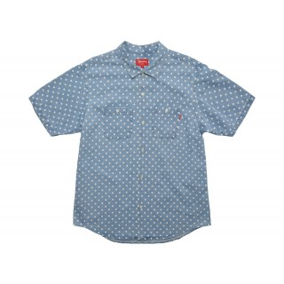 FW18 Supreme Polka Dot Denim Shirt Light Blue