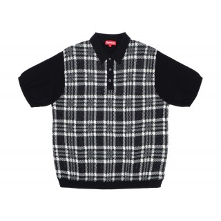 FW18 Supreme Plaid Knit Polo Black