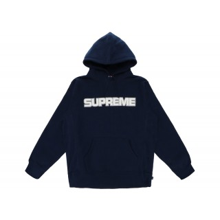 FW18 Supreme Perforated Leather Hooded Sweatshirt Navy
