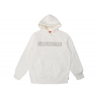 FW18 Supreme Perforated Leather Hooded Sweatshirt White
