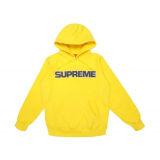 FW18 Supreme Perforated Leather Hooded Sweatshirt Yellow