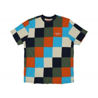 FW18 Supreme Patchwork Pique Tee Navy/Teal/Orange