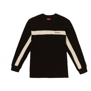 FW18 Supreme Panel Stripe Waffle Thermal Black