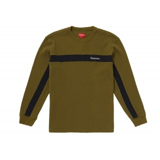 FW18 Supreme Panel Stripe Waffle Thermal Olive