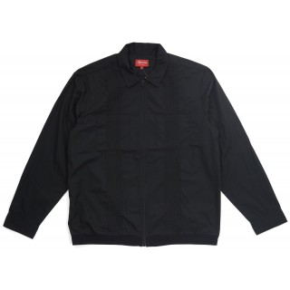 FW18 Supreme Pin Tuck Zip Up Shirt Black