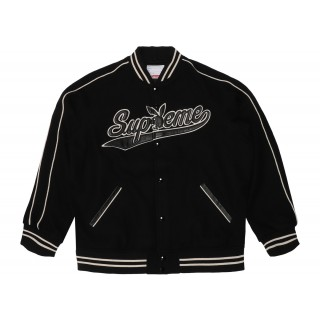 FW18 Supreme Playboy Wool Varsity Jacket Black