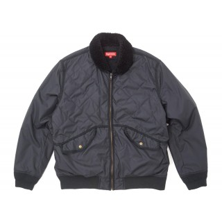 FW18 Supreme Quilted Nylon Tanker Jacket Black