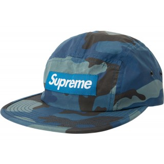 FW18 Supreme Reflective Camo Camp Cap Blue