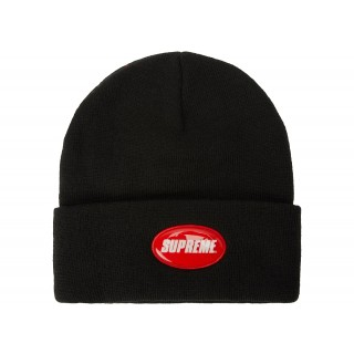FW18 Supreme Rubber Patch Beanie Black