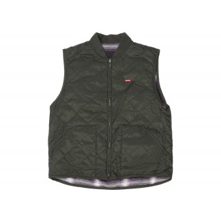 FW18 Supreme Reversible Shadow Plaid Vest Dark Green