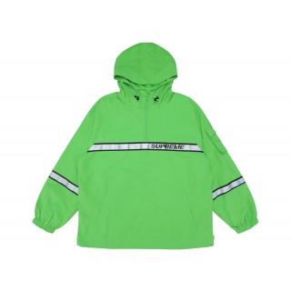 FW18 Supreme Reflective Taping Hooded Pullover Green
