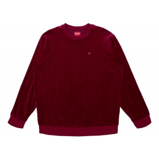 FW18 Supreme Ribbed Velour Crewneck Burgundy
