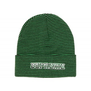 FW18 Supreme Small Stripe Beanie Green