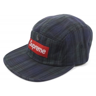 FW18 Supreme Snap Button Pocket Camp Cap Black Watch Plaid