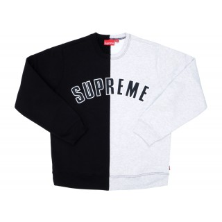 FW18 Supreme Split Crewneck Sweatshirt Black