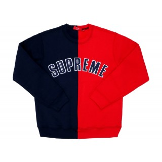 FW18 Supreme Split Crewneck Sweatshirt Navy