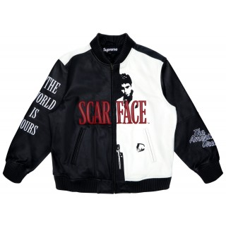 FW18 Supreme Scarface Embroidered Leather Jacket Black