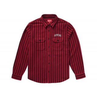 FW18 Supreme Stripe Heavyweight Flannel Shirt Red