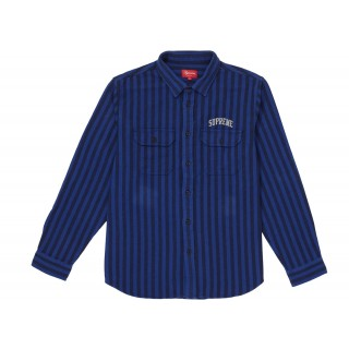 FW18 Supreme Stripe Heavyweight Flannel Shirt Royal